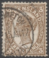 Queensland. 1907-11 QV. 3d Used P12½,13 Crown Over A W/M SG 291 - 1860-1909 Queensland