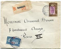 COTE FRANCAISE DES SOMALIS LETTRE RECOMMANDEE DEPART COTE Fse DES SOMALIS 11 MAR 35 DJIBOUTI POUR LA FRANCE - Côte Française Des Somalis (1894-1967)