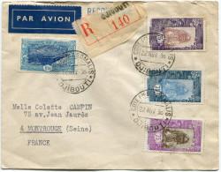 COTE FRANCAISE DES SOMALIS LETTRE PAR AVION RECOMMANDEE DEPART COTE Fse DES SOMALIS 22 NOV 36 DJIBOUTI POUR LA FRANCE - Côte Française Des Somalis (1894-1967)
