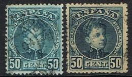 Sellos 50 Cts  Alfonso XIII Cadete, Variedad Color Y Uno Numeracion Invertida, Num 252-252ni º