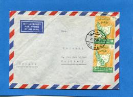 MARCOPHILIE- SYRIE U A R-Lettre >Françe-cad 1960 2 StampsN°154 Fête De L'évacuation 1959 - Syria