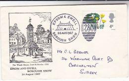 1967 GB Stamps COVER EPOSM EWELL BOROUGH SHOW EVENT  Illus 1700 CLOCK TOWER - 1952-.... (Elizabeth II)