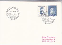 1966  SWITZERLAND COVER (card) Teufen SUN Pmk EVENT Pro Patria Theodosius FLORENTINI Stamps Weather Climate Religion - Covers & Documents