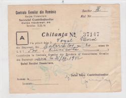 Romania - Bucuresti - Centrala Evreilor Din Romania - Judaica - 1942 - Chitanta - Invoices & Commercial Documents