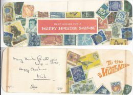 1975 MAILMAN GIFT ENVELOPE (for Putting Christmas Gift To Mailman) Depicting Pictures Of World Stamps - Cinderellas