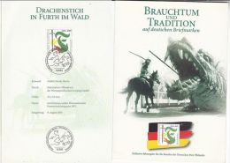 2001  GERMANY FDC (special Card) SLAYING DRAGON Pic Stamps DRAGONS Cover - Mythology