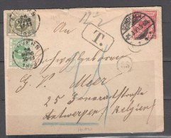 Germany1899:10pfg.red On Cover To Antwerp With 2 Belgian Postal Dues - Deutschland