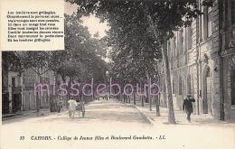 46 - CAHORS  - Collège  De Jeunes Filles Et Boulevard Gambetta - Texte - Poème - TTBE - Dos Vierge  - 2 Scans - Cahors