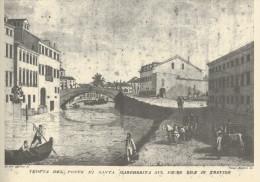 TREVISO E IL SUO TERRITORIO  TREVISO  PONTE S. MARGHERITA   2 SCAN  (STAMPA CON DESCRIZIONE SUL RETRO) 22X30,5 - Treviso