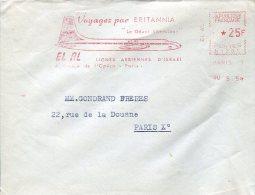5443 France,cover With  Red Meter Freistempel 1959  El Al   Voyagez Par Britannia,  Airplane, Flugzeuge, Avion Britannia - Aerei
