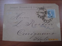 25 Bani Su Busta Da Bucarest A Carignano, Agosto 1884 - Marcophilie