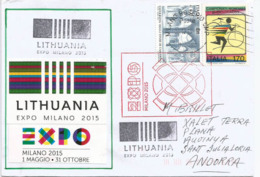 """LITUANIE..EXPO UNIVERSELLE MILAN 2015 """"Feeding The Planet"""", Lettre De Lituanie à Milan,adressée En Andorre - Lithuania"""