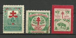 Christmas Weihnachten 3 Alte Vignetten Poster Stamps Tuberculosis * - Noël