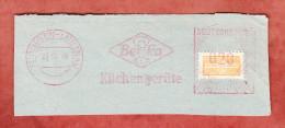 Briefstueck, Absenderfreistempel, Beka Kuechengeraete, 20 Pfg, Wohnungsbaumarke, Tuebingen-Lustnau 1949 (28489) - Französische Zone