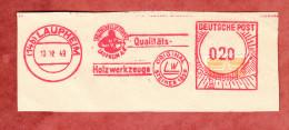 Briefstueck, Absenderfreistempel, Holzwerkzeuge Steiner, 20 Pfg, Wohnungsbaumarke, Laupheim 1949 (28490) - Französische Zone