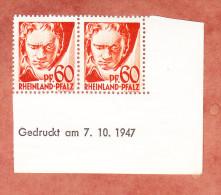 Rheinland-Pfalz, Mi 12yv Beethoven, Waagrechtes Paar Mit Druckdatum 7.10.1947, Postfrisch (28492) - Französische Zone