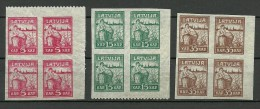 LETTLAND Latvia 1919 Michel 25 - 27 Y In 4-block MNH - Lettonie