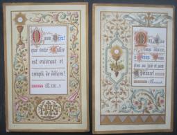 2 IMAGES PIEUSES (chromo  Fin XIXème) : MON DIEU - L'EUCHARISTIE - ENLUMINURES & TEXTES DIFFERENTS / SANTINO - Devotion Images