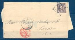 1878 , MÁLAGA - LONDRES , MAT. ROMBO DE PUNTOS CON ESTRELLA , TRÉBOL DE MÁLAGA , DE MADRID Y MARCA LONDON / PAID - 1875-1882 Royaume: Alphonse XII