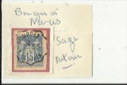 1 Timbre _Tampon Convoyeur - _Bourges__Nevers_-Sage  15cts _Retour - Marcophilie (Timbres Détachés)