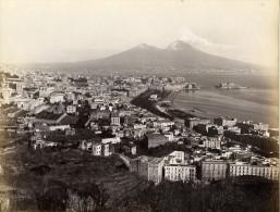 Italie Naples Napoli Panorama Volcan Vesivio Vesuve Ancienne Photo Albumine Sommer 1880 - Photos