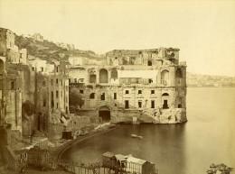 Italie Naples Napoli Posillipo Palazzo Donn´Anna Ancienne Photo Albumine Achille Mauri 1870 - Photographs