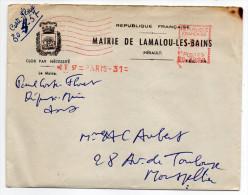 2-5--1957---EMA  PARIS 31 --machine N°C 3288--*15 00 -Mairie De LAMALOU LES BAINS(blason) Pour Montpellier-34 - Marcophilie (Lettres)