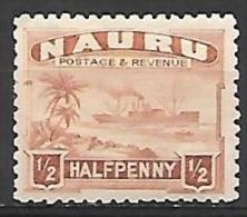1927 1/2p Freighter, Mint Hinged - Nauru