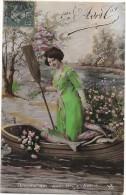 CPA COLORISEE FETE - 1er AVRIL - Une Femme Dans Une Barque - Devinez Qui Vous Les Envoie? - ENCH1202   - - April Fool's Day