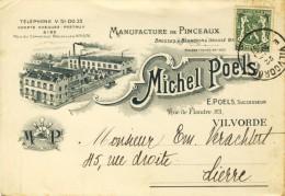 Vilvoorde / Vilvorde - Manufacture De Pinceaux Michel Poels - Reclamekaart -1937 - Vilvoorde