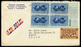 37541) USA - Brief/letter - Michel 691 Eckrand 4er-Block Mit Nummer Rechts Unten - 3c Atoms For Peace - Lettres & Documents