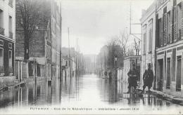 Inondations Janvier 1910 - Puteaux - Rue De La République - Militaires - Carte A.R. Non Circulée - Inondations
