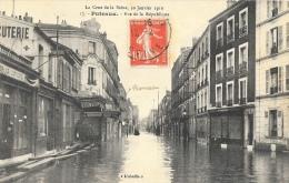 La Crue De La Seine Janvier 1910 - Puteaux - Rue De La République - Carte L'Abeille N°17 - Inondations