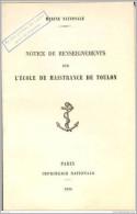 """Notice De Renseignements """" Ecole De Maistrance De Toulon """" 1938 - WW2 WWII - Altri"""
