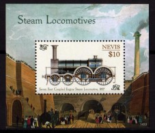NEVIS 2014 - Locomotives Classiques à Vapeur -  BF I Neufs // Mnh - St.Kitts Y Nevis ( 1983-...)