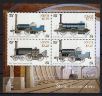 NEVIS 2014 - Locomotives Classiques à Vapeur -  BF 4 Val I Neufs // Mnh - St.Kitts Y Nevis ( 1983-...)