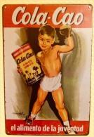 Plaque Métallique Publicitaire Décorative - CHOCOLAT COLA-CAO - KIDS BOXING - Plaques Publicitaires