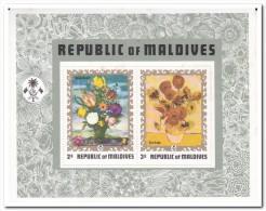 Maldiven 1973, Postfris MNH, Flowers, Painting ( Paperrest ) - Maldiven (1965-...)