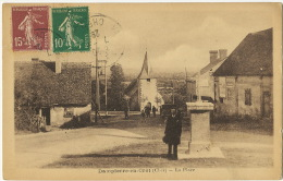 Dampierre En Crot La Place Timbrée De Vailly Sur Sauldre 1929 Photo Biaud Cosne - France