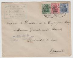 BB001a /  BELGIEN - 3 Farben Frankatur, Entwertet Mit Stempel Der Überwachungsstelle + Freigabe Tourmai - WW I