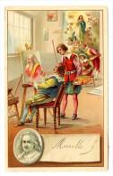 18 (02) - CHROMO 90 X 140 Mm -  MURILLO ET SES ELEVES (THEME - PEINTRE PEINTURE) - RECOMPENSE SCOLAIRE EN 1908 - Artis Historia