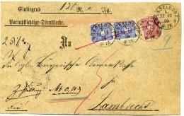 Reich -  Devant  Lettre Chargée   Avec   N° 41 + Paire N°  42   (  Michel )  - Dusseldorf  Pour Lambrecht  1886 - Briefe U. Dokumente