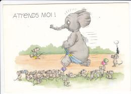 CPSM ELEPHANT POURSUIVI PAR SOURIS ATTENDS MOI HUMOUR DESSIN VOGL - Éléphants