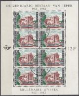 Belgique 1962 COB Bloc Feuillet 33 O Cote (2016) 6.00 Euro Millénaire D'Ypres Porte De Menin Cachet Rond - Blocs 1962-....