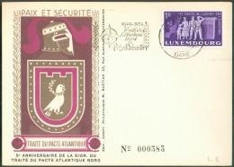 5ème Anniversaire De La Signature Du Traité Du Pacte Atlantique Nord 1954 - 10983 - Maximum Cards
