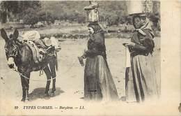 -departs Div. -ref- EE187 - Haute Corse - Types Corses - Bergeres - Bergere - Ane - Anes - Tricot - Port Sur La Tete - - France