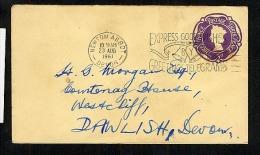 GB QEII Postal Stationery Envelope EP85 Used 1961 Newton Abbot Telegram Slogan (U492) - Entiers Postaux