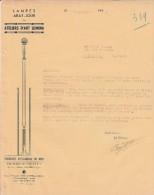 Lettre 7/10/1941 Ateliers D´Art LUMINA Verreries D´éclairage Du Midi CASTRES Tarn - France
