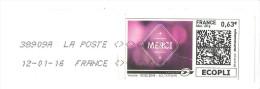 MON TIMBRENLIGNE 0,63€ MERCI NUANCES DE ROUGE  SUR ENVELOPPE 22X11 - Personnalisés (MonTimbraMoi)