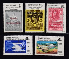 BOTSWANA, 1985, Mint Hinged Stamps , Stamps On Stamps, 359-363, #827 - Botswana (1966-...)